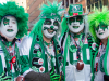 TORONTO, Ont. (25/11/2012) – Long time friends and Saskatchewan Roughriders fans Alan Pugh, Trevor Stodard, Tony Dagenais and Stacey Burden (l-r) make their way to the Rogers Centre for the 100th game armed with their Kiss inspired makeup. They got their tickets last February and will be watching the game from the 100 level.  Photo by Julia McKay