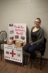 Second year SSW student Sarah Hedley along with fellow student Maria Pope (not pictured) are raising money for the Red Cross outside of the shark tank pub. The fundraiser is part of a class project that involves students working with charities to raise awareness and funds.
