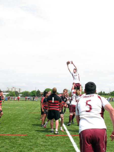BELLEVILLE, ON (26/05/2011) COSSA Senior Rugby finals. Moira throughs in to his awaiting jumper. Photo by Steph Crosier