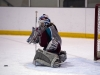 BELLEVILLE, Ont. (5/3/12) - Bre Bunnett of the Moira Knights makes one of over 30 saves during the COSSA championship game in Belleville Ontario Monday March 5. It wasn't until 12.1 seconds remaining that the St. Theresa Titans finally managed to solve Bunnett.  Photo by Andre Lodder