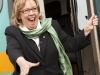 BELLEVILLE, Ont. (04/08/2011) - Elizabeth May makes a quick stop off the train to speak to Green party supporters at the Belleville train station. It was a whirlwind stop where she recieved a donation a teddy bear and much support.