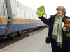 BELLEVILLE, ONT. (04/08/11) - Donna Mcpherson came to Belleville train station to see Green party leader Elizabeth May on he whistle stop tour. Mcpherson made the bear in her arms for Elizabeth and hung around its neck the keys to parliament. Photo by Kristen Haveman