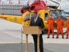TRENTON, ON (10/08/11) Minister of National Defence Peter MacKay announces that there will be 65 personnel and three CH-146 Griffon Helicopters to a desperate Jamaica during the hurricane season.  Photo by Steph Crosier