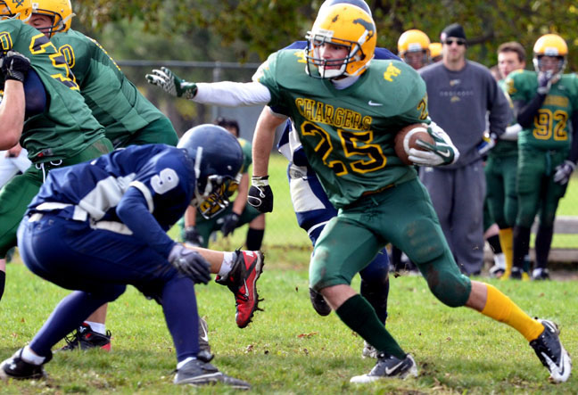 Chargers running back #25 Sam Chartrand braces for impact as he moves the ball up the field. Chartrand scored a touchdown and set up another in Friday's 31-7 win over the Quinte Saints.  Photo by Andrew Mendler