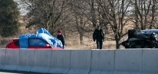 TRENTON, Ont (06/02/2012) – Eastbound traffic on Highway 401 has been stopped after a head-on collision at 9:50 a.m. between Aikins Road and Glen Miller Road left two dead. Police remain on scene, no charges have been laid. Photo By: Liam Kavanagh-Bradette