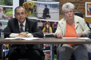 BELLEVILLE, On. (09/21/11) Garnet Thompson, chair of Belleville's Accessibility Advisory Committee (left), and Karen Kitchen, co-chair (right), announced Rick Hansen would be coming to Belleville October 31 as part of the 25th Anniversary Rick Hansen Relay. Photo by Renee Rodgers.