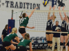 Lancers Kirsten Talsma (5) and Leanne Jeffs (12) block a spike from Durham'sAshley Mulholland (7). The Lancers topped the Lords 3-0. Photo by Taylor Renkema