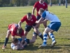 Loyalist Lancers Devin Reid and Luke Shillington press an Algonquin Thunder player during the OCAA Tier II men's rugby championship. Photo by Ashliegh Gehl.