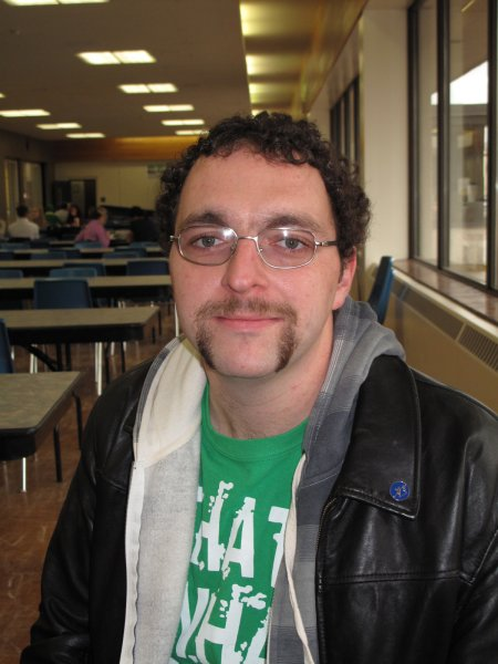 John Gagan, a Child and Youth Worker student. Showing off his Movember mustache. November 30, 2011.