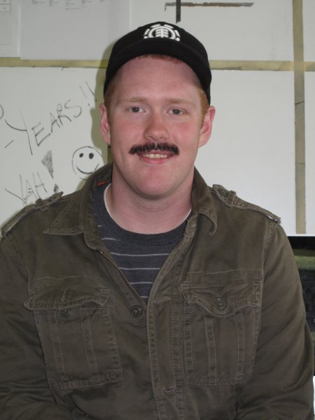 Ryan Forsyth a Radio Broadcast student. He grew his mustache because he thought it was a good cause. November 30, 2011.