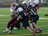 CARLETON PLACE (24/11/12) Moira Trojan's receiver Matt McDougall battles off a Gananoque  Photo by Steph Crosier