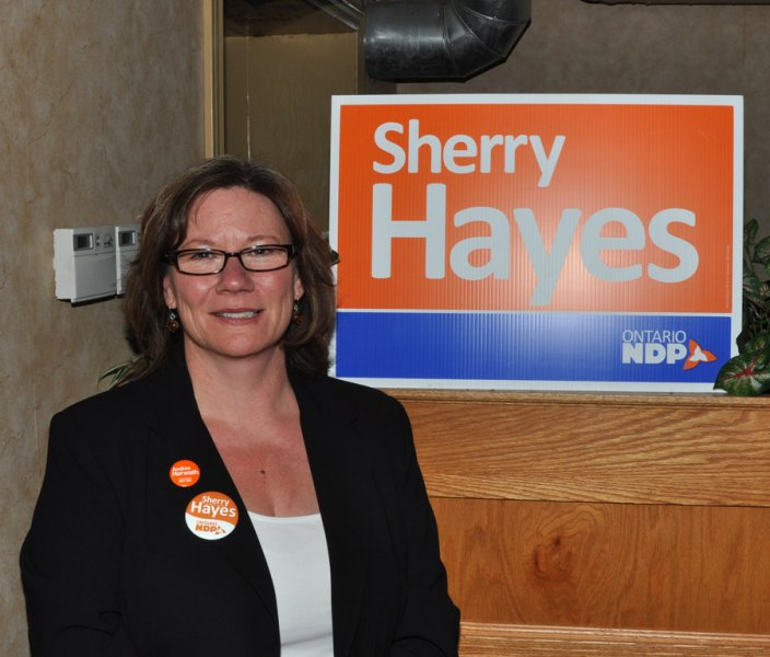 Sherry Hayes at her campaign party on election night at Wahoo 2 bar. Photo by Matt Kerr