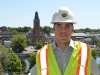 BELLEVILLE, Ont. (09/07/2012) Project Manager Matthew Rinfret stands on the east side of the fourth floor, overlooking city hall and the rest of downtown Belleville. The Quinte Consolidated Courthouse is expected to be complete by June 2013. Photo by Marc Venema.