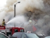TRENTON, Ont. (05/11/2012)  Fire fighters battled the Sherwood Forest Inn's fire for over six hours Monday. 12 people were evacuated from the Sherwood as well as the entire downtown core. Fire chief estimated between $600,000-$700,000 in damage. Photo by Steph Crosier