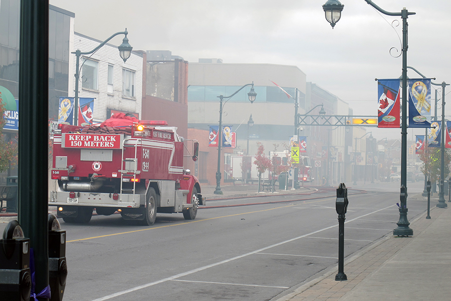 TRENTON, Ont. (05/11/2012)  Fire fighters battled the Sherwood Forest Inn's fire for over six hours Monday. 12 people were evacuated from the Sherwood as well as the entire downtown core. Fire cheif estimated between $600,000-$700,000 in damage. Photo by Steph Crosier