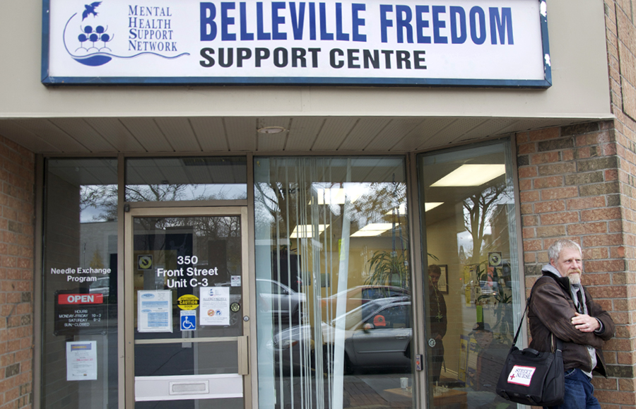 BELLEVILLE, Ont. (11/11/11)— Doug Roy stands outside of Belleville's Freedom Support Centre. Roy visits the centre at least once a week where he builds strong rapport with the centre's clientelle. Photo by Brynn Campbell.