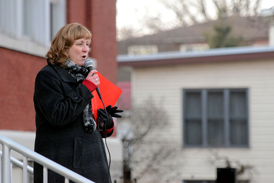 (BELLEVILLE) 11-12-2012 - Local ETFO president Karen Fisk addresses the crowd of teachers and support staff to start off Tuesday's rally for solidarity. Photo by Keenan Weaver