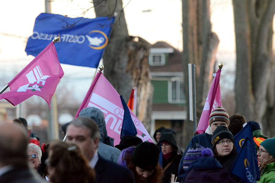 (BELLEVILLE) 11-12-2012 - Members of the local Elementary Teachers Federation of Ontario (ETFO), Ontario Secondary School Teachers Federation (OSSTF) and Canadian Union of Public Employees (CUPE) gathered outside the education center at Tuesday's rally to protest Bill 115. Photo by Keenan Weaver