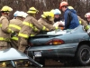 Fire fighters work to extricate a Trenton man from a car following a two vehicle accident Tuesday, May 3, 2011. The accident happened on Hwy 2 east of RCAF. Both drivers are in the hospital in serious condition. Photo by Jennifer Bowman
