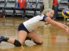 Loyalist's Jenny Richardson digs for the ball during a game against Durham. The Lancers fell 3-0. Photo by Taylor Renkema.