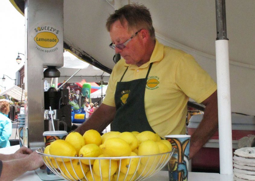 TRENTON, Ont. (21/07/11) Ken Bethune sold lemonade at Trenton's Festival on the Bay July 21, 22 and 23. He estimated he had sold about 75 by midday Friday. Photo by Renee Rodgers.