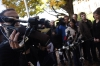 (BELLVILLE Ont. 10/7/10) Media wait outside the Bellville courthouse Thursday afternoon waiting for a statement from Andy Lloyd (Jessica Lloyds brother) after the court case of Russell Williams. Photo by: Thomas Lee