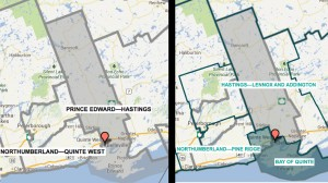 The current riding is on the left and the new riding is on the right. The map is courtesy of the Federal Electoral Boundaries Commission. The map is approximate and for illustrative purposes only.