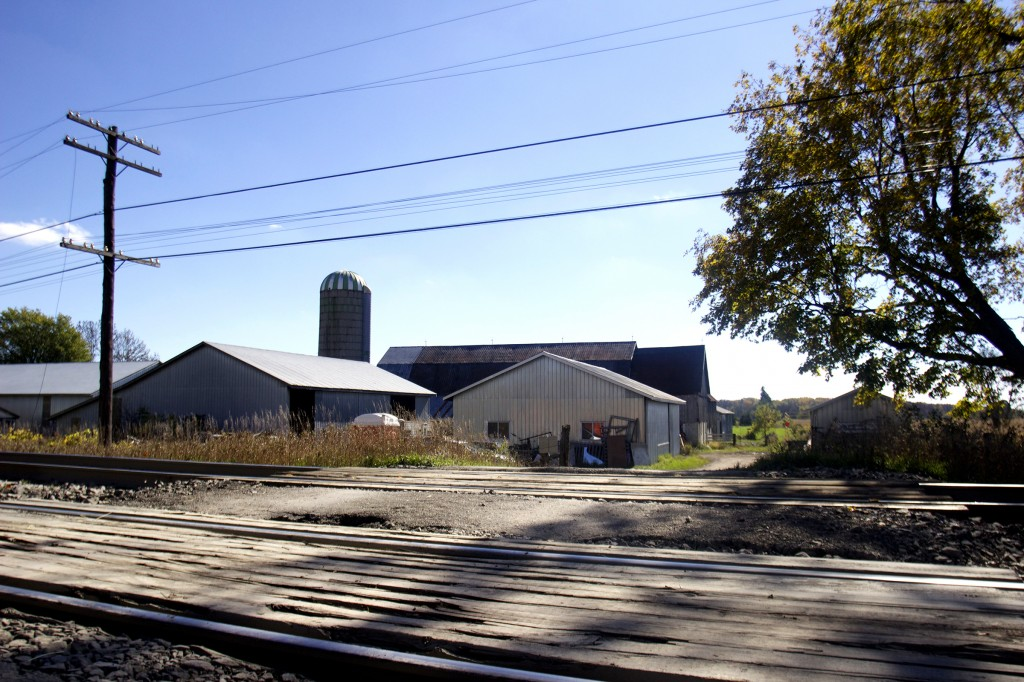 The railroad acts as a barrier with Meyer's farm sitting just on the other side of the tracks. Crossing over can result in military police arresting trespassers. Photo by Jack Carver