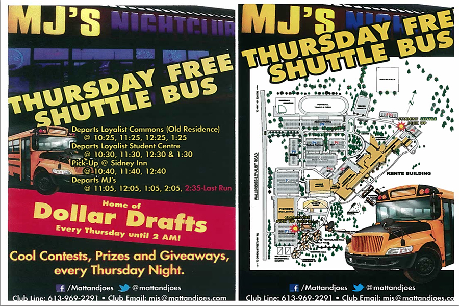 The flyer advertising the shuttle service at the college that set off the dispute between Loyalist College and Matt & Joe's.
