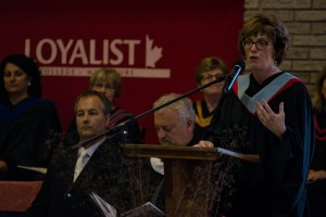 Loyalist College president Maureen Piercy, here speaking to grads at Loyalist's Bancroft campus, has been reappointed to head the college for five more years. File photo by James Wood, Loyalist Photojournalism