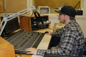 Oct. 09, 2013. Ryan Buza a second year radio broadcasting student spends most of his time working on assignments in the radio studios. The long hours can be overwhelming but he does what he can to keep stress low.
