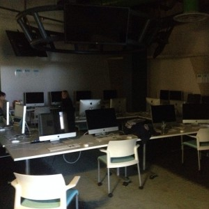 The Digital Media Centre at Loyalist College during the power outage on Monday afternoon. Photo by Riley Maracle