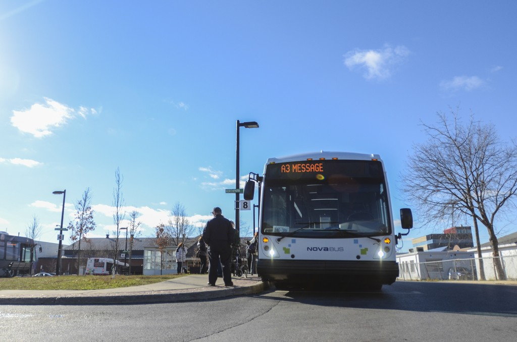 BELLEVILLE - The hybrid Nova Bus waits at the transit nexus. The bus is on loan and will be in town until late December. Photo by Jack Carver