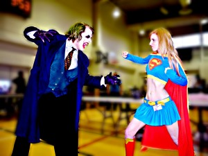 "The Toronto Joker squares off against ""Supergirl"" Ashe Rogue at the Quinte Mini Con. Photo by Matthew Blair"
