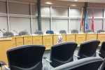 Empty for now - Quinte West's council room before the councillors enter. Last time Quinte West tried to vote on this building, the councillors felt as if the public should have the chance to speak on the subject. Photo by Shelby Wye.