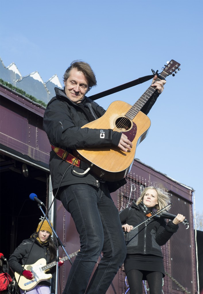 BELLEVILLE, Ont (28/11/13) - Jim Cuddy performs at the CP Rail Holiday Train.  Photo by Carla Antonio.
