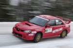 BANCROFT, Ont (30/11/2013) Alexandre Ouellette and David Lamarre rounding a corner at the Rally of the Tall Pines on a cold snowy Saturday afternoon. In their 2007 Subaru. The duo ended up withdrawing from the race. Photo by Thomas Surian.