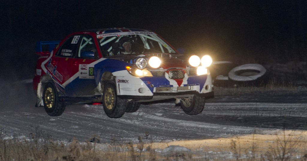 BANCROFT, Ont. [30/11/2013] Nick Mathew and co-driver Kelly Mathew take their 2005 Subaru WRX STI off a jump during the night stage at the 43rd annual Rally of the Tall Pines held on Saturday, Nov. 30, 2013 in Bancroft, Ont. Mathew finished 8th overall, with a 6th place finish in the National four-wheel open competition, and a second place finish in the Regional four-wheel open competition. Photo by Kaitlin Abeele