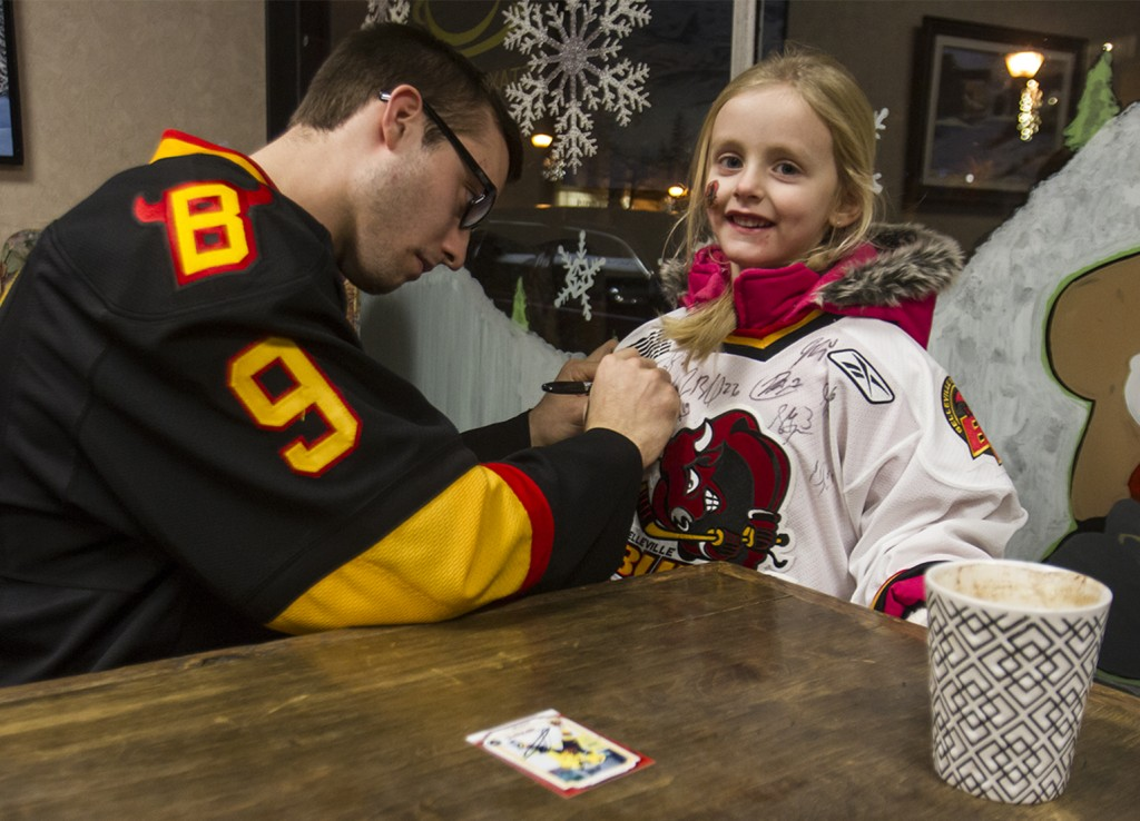 BELLEVILLE- Belleville Bull, Adam Bignell was stationed at the Sweet Escape Dessert & Coffee Lounge in downtown as a part of the Belleville Bull meet and greet. Photo by Julia Karpiuk.
