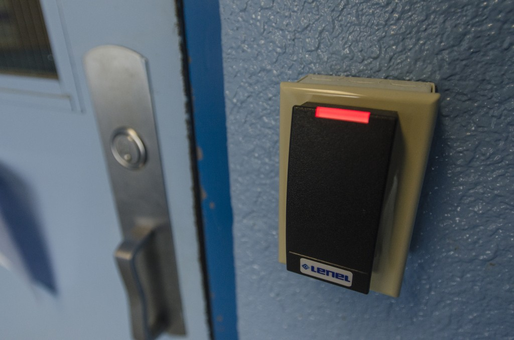 LOYALIST COLLEGE - Residence buildings are locked with key card slots that only staff and students can open. Photo by Jack Carver