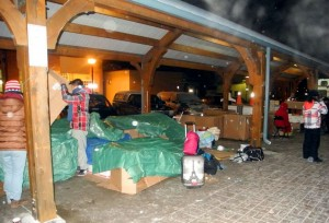 BELLEVILLE – Cardboard box shelters in Market Square at last years annual Sleep Out! So Others Can Sleep In event. Photo by Suzanne Coolen