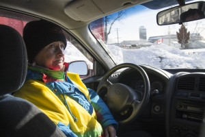 QUINTE WEST – Protester Margarat Collins-Clapp sits in her vehicle across the tracks from the expropriated Meyers' farm. She says she will continue to stay despite cold weather and a dwindling amount of protesters. Photo by Jack Carver