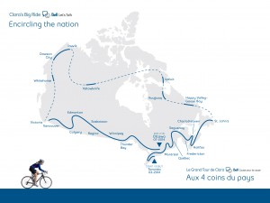 Clara Hughes's ride will take her around Canada, raising mental health awareness. Photo courtesy of Bell.