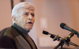 Max Eisen presented a speech about his life as a Holocaust survivor to a students at Loyalist College on Thursday. Eisen was a Czechoslovakian citizen when Nazi Germany took control of the country. His family was sent to a concentration camp. Photo by Christopher King, Loyalist Photojournalism