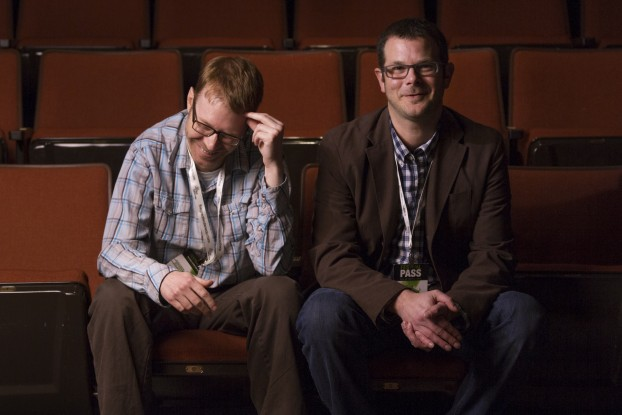 BELLEVILLE – Brothers Andrew (left) and Adam Gray directed Fly Colt Fly and attended a screening of the film at DocFest. Fly Colt Fly tells the story of Colton Harris-Moore, who was wanted by and eluded the police for almost three years. Photo by Micah Bond, Loyalist Photojournalism