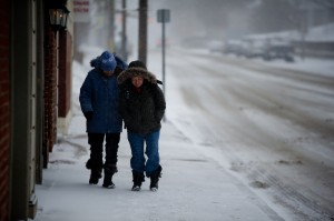 BELLEVILLE – Dianne Shipley and Janet Sirvage make their way downtown. Photo by James Wood, Loyalist Photojournalism