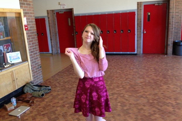 Ali Chesher shows off her pink clothing during Pink Shirt Day at Bayside Secondary School. Photo by Shelden Rogers