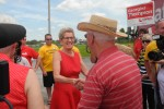 BELLEVILLE - Premier Kathleen Wynne greets a supporter at a quick stop in Belleville on Tuesday. Photo by Suzanne Coolen
