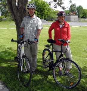 BELLEVILLE - Rob Jakes (left), and Tanya Hill both sit in the Belleville on Bikes steering committee. They want to see the next council to continue the momentum that will se Belleville becoming a bike friendly city over the next 20 years. Photo by Greg Murphy.
