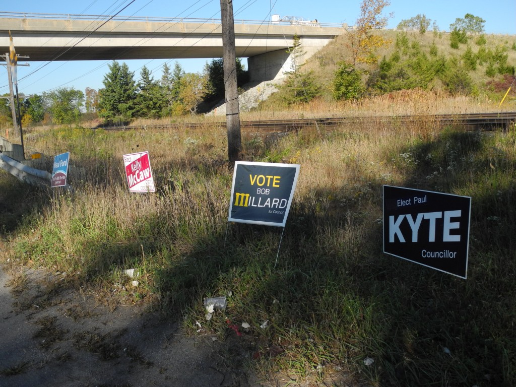 Campaign signs can be seen around Belleville, as next month's municipal election draw closer. (Photo by Amanda Lorbetski)